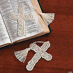 Cotton Crocheted Cross Bookmarks