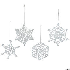 Cotton Crocheted Snowflake Christmas Ornaments