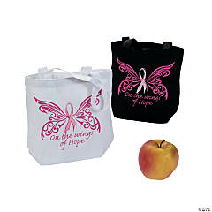 Cotton Small Pink Ribbon Wings of Hope Tote Bags