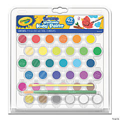 Crayola® Washable Kids Paint Tray & 2 Brushes, 42 Colors