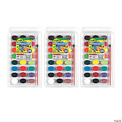 Crayola Washable Watercolor Pans with Plastic Handled Brush, 24 Colors, 3 Sets