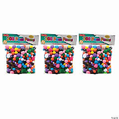 Creative Arts™ Pom-Poms, Assorted Colors/Sizes, 300 Per Pack, 3 Packs