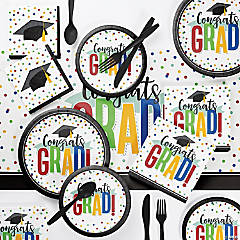 Creative Converting Colorful Graduation Deluxe Party Supplies Kit for 24 Guests