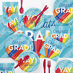 Creative Converting Rainbow Graduation Party Supplies Kit for 8 Guests