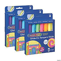 Creativity Street® Glide-On Tempera Paint Sticks, Fluorescent Colors, 5 grams, 6 Per Pack, 3 Packs