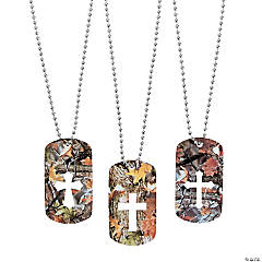 Cross Cutout Camouflage Dog Tag Necklaces