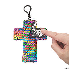 Cross Reversible Sequin Clip Keychains