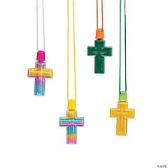 Cross Sand Art Bottle Necklaces - 12 Pc.