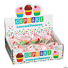 Cupcake Erasers with Sharpeners