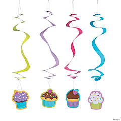 Cupcake Party Hanging Swirl Decorations - 12 Pc.