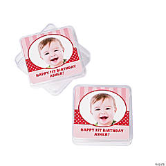 Custom Photo 1st Birthday Red Square Containers