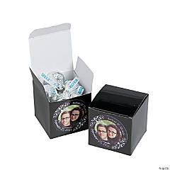 Custom Photo Mini Black Favor Boxes