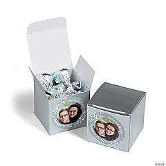 Custom Photo Mini Silver Favor Boxes