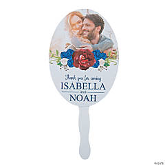 Custom Photo Navy Floral Favor Fans