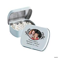 Custom Photo Scrollwork Wedding Mint Tins