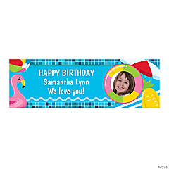 Custom Photo Small Pool Party Vinyl Banner