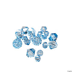 Cut Glass Blue Topaz Crystal Bicone Beads - 4mm-6mm