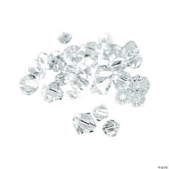 Cut Glass Clear Crystal Bicone Beads - 4mm-6mm