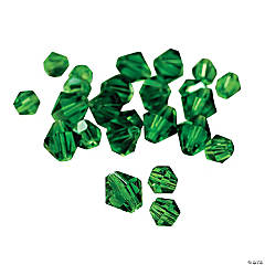 Cut Glass Emerald Crystal Bicone Beads - 4mm-6mm