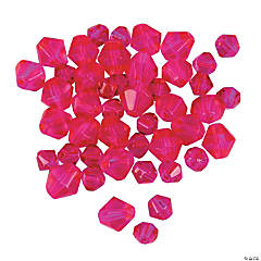 Cut Glass Fuchsia Crystal Bicone Beads - 4mm-6mm