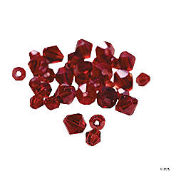 Cut Glass Garnet Crystal Bicone Beads - 4mm-6mm