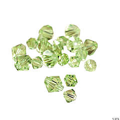 Cut Glass Peridot Crystal Bicone Beads - 4mm-6mm