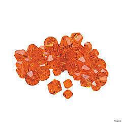 Cut Glass Sunset Orange Crystal Bicone Beads - 4mm-6mm
