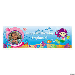 Cute Mermaid Party Photo Custom Banner - Medium