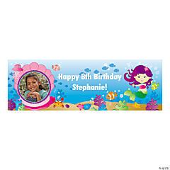 Cute Mermaid Party Photo Custom Banner - Small