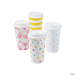 Cute Patterns Insulated Coffee Cups with Lids