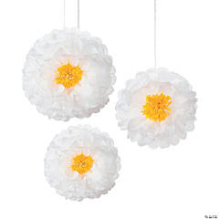 Daisy Hanging Tissue Paper Pom-Pom Decorations