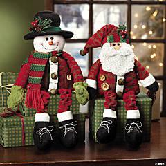 Dangle-Leg Santa & Snowman