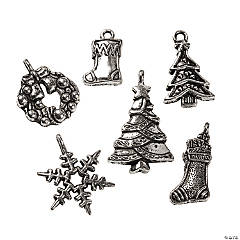 Dark Silver-Finish Christmas Charm Mix