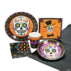 Day of the Dead Tableware Kit for 8 Guests