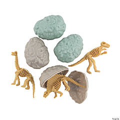 Dinosaur Fossil Toy-Filled Plastic Easter Eggs - 12 Pc.