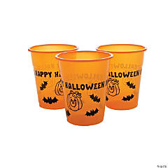Disposable Plastic Cups with Halloween Designs