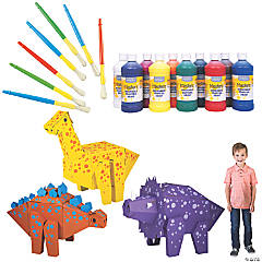 DIY Cardboard Dinosaur Stand-Up Craft Kit with Paint