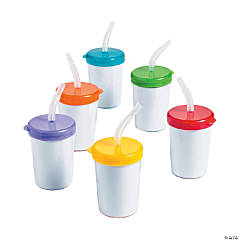 DIY Plastic Cups With Lids And Straws - 48 pcs.