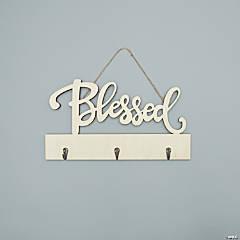 DIY Unfinished Wood Blessed Key Holder Sign