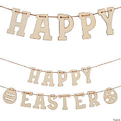 DIY Unfinished Wood Happy Easter Garland