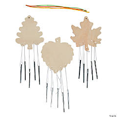 DIY Unfinished Wood Leaf-Shaped Wind Chimes