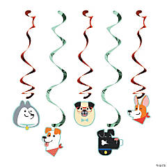 Dog Party Swirl Decorations - 5 Pc.