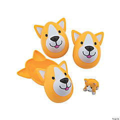 Dog-Shaped Puppy-Filled Plastic Easter Eggs - 12 Pc.