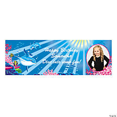 Dolphin Party Photo Custom Banner - Small