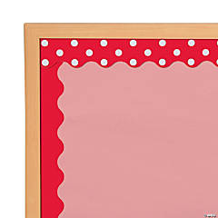 Double-Sided Solid & Polka Dot Bulletin Board Borders - Red