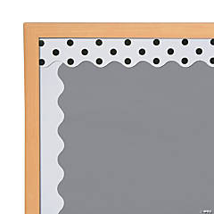 Double-Sided Solid & Polka Dot Bulletin Board Borders - White