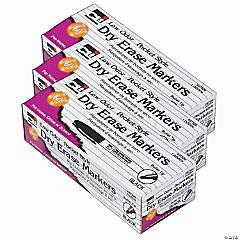 Dry Erase Markers, Pocket Style, Bullet Tip, Black, 12 Per Pack, 3 Packs