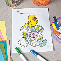 Duck On Easter Eggs Free Printable Coloring Page