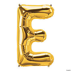 E Gold Letter Mylar Balloon