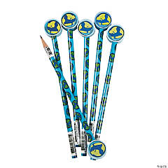 Earth Pencils with Globe Eraser Toppers - 12 Pc.